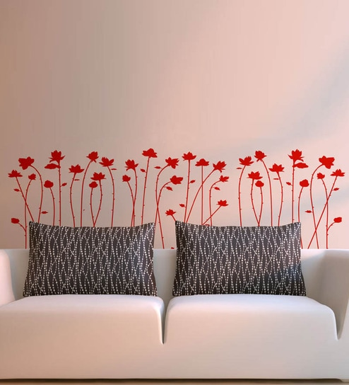 Buy Pvc Vinyl Sofa Background Red Flowers Wall Sticker By Walltola