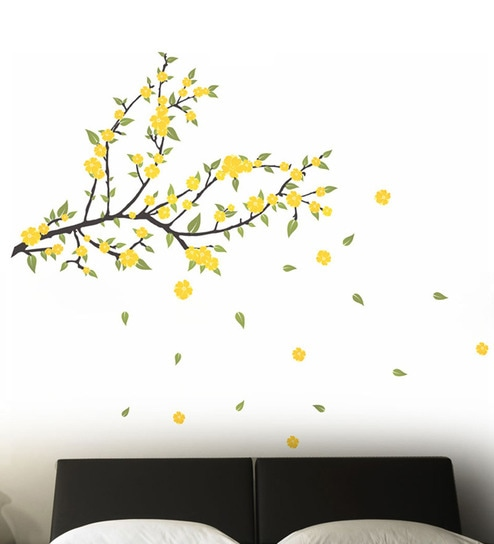 PVC Vinyl Spread Love Yellow Flowers Wall Sticker By WallTola Part 97