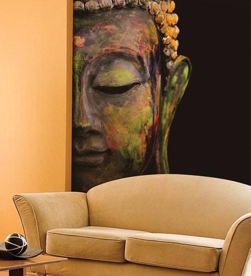 Black Non Woven Paper Meditating Buddha Wallpaper by Wallskin
