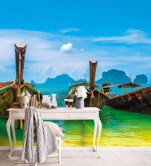 Buy Blue Woven Paper Boats Beach Wallpaper Wallskin Online Abstract