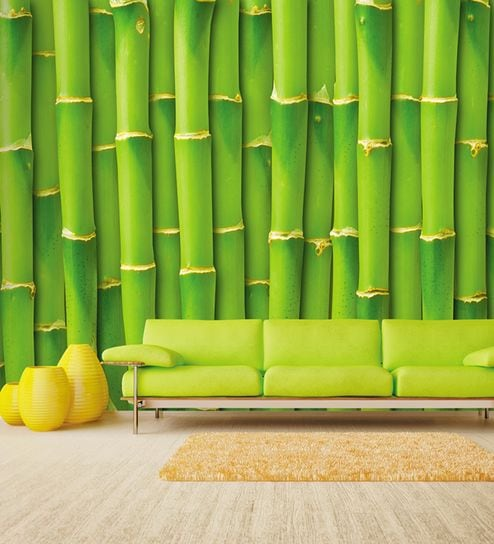 Green Non Woven Paper Bamboo Wall Wallpaper By Wallskin