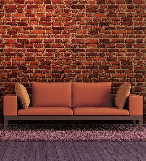 Buy red non woven paper brick wallpaper by wallskin online for Wallpaper for walls rates