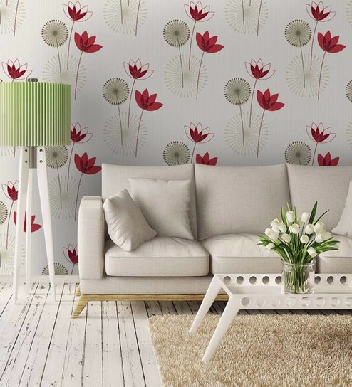 Buy Red Non Woven Paper Bright Wall Flowers Wallpaper By Wallskin