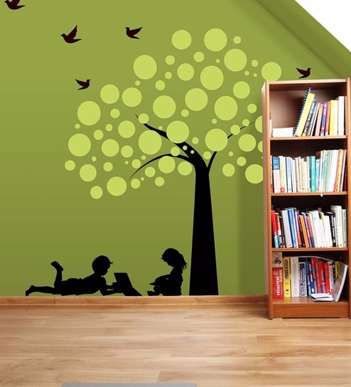 Wallskin vinyl children reading under tree wall decal