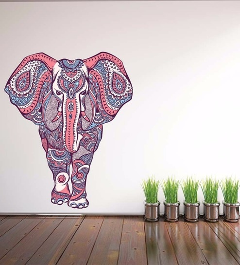 Vinyl Indian Designer Elephant Wall Sticker By Wallskin