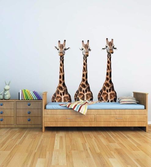 buy vinyl three tall giraffes wall stickerwallskin online