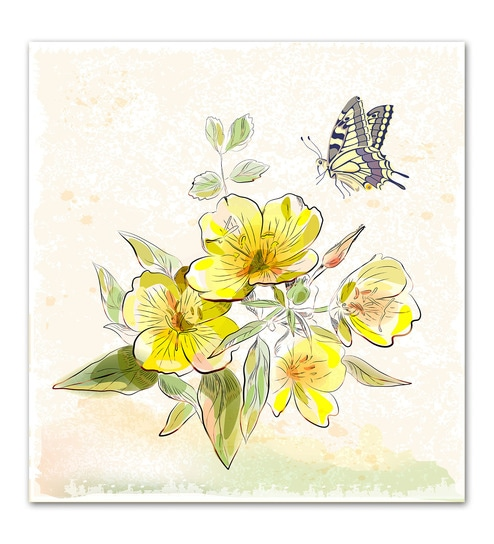 Buy Wallsnart Photographic Paper Yellow Field Flowers & Butterfly ...
