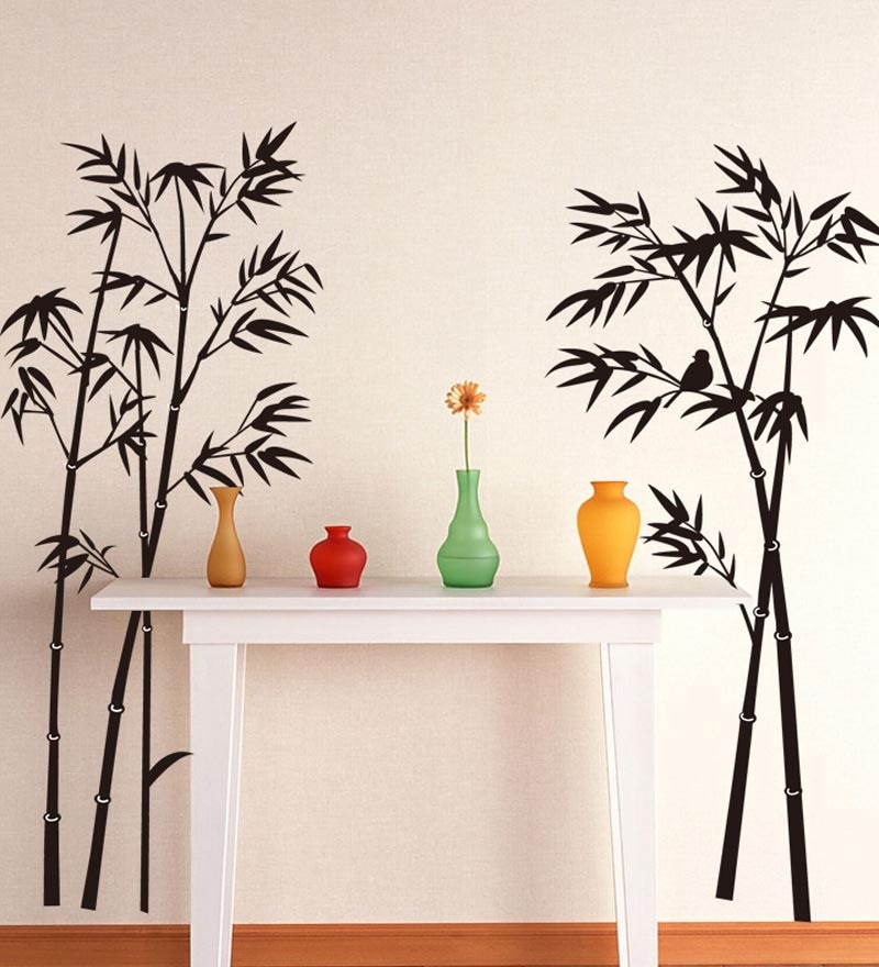 PVC Vinyl Beautiful Bamboo Trees in Black Wall Sticker by WallTola