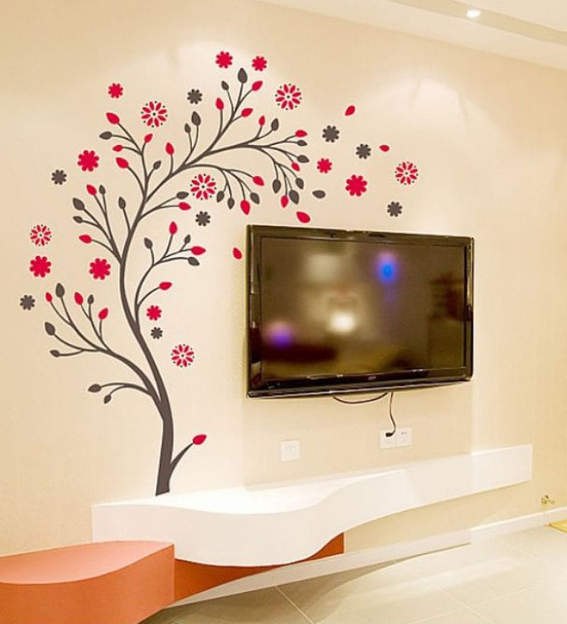 Buy WallTola PVC Vinyl Beautiful Magic Tree with Flowers Wall