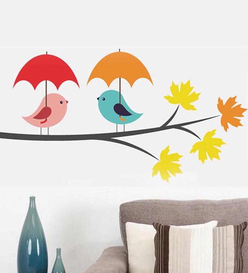 PVC Vinyl Birds Under Umbrella Wall Sticker by WallTola