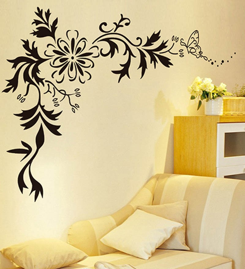 Buy WallTola Black Lcd Floral Design PVC Vinyl Wall Sticker Online