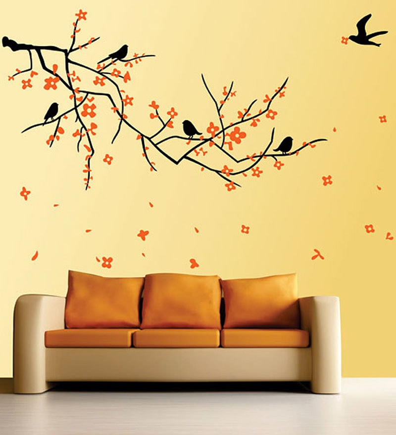 Buy Walltola Pvc Vinyl Nature Black Branch With Flowers