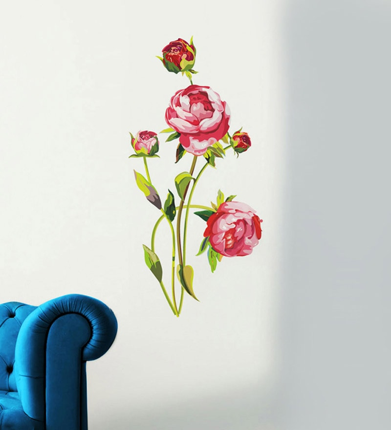 PVC Vinyl Peony Flowers Wall Sticker by WallTola