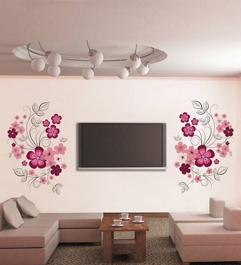 PVC Vinyl Pink Flowers with Black Vine Wall Sticker by WallTola