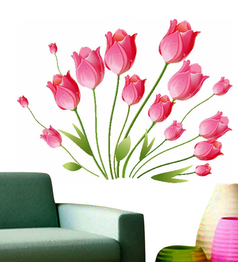 Buy WallTola PVC Vinyl Pink Tulips Bouquet Wall Sticker Online