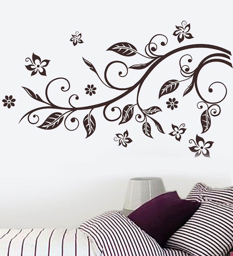 Buy WallTola PVC Vinyl Slender Branch Bedroom Decor Wall Sticker