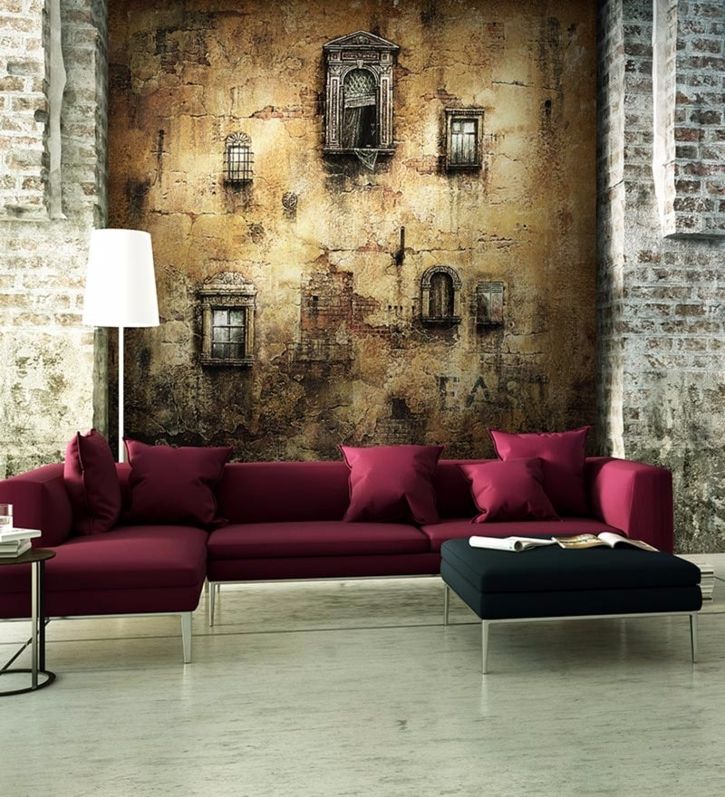 Black Non Woven Paper Old Wallpaper by Wallskin