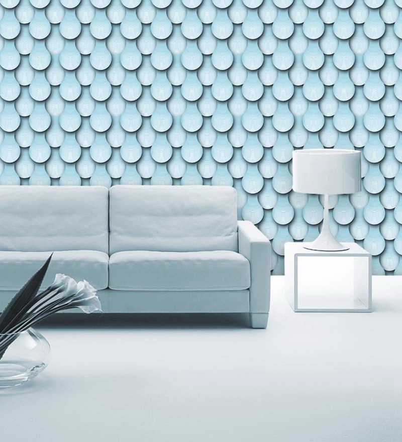 Blue Non Woven Paper The Pastel Roof Pattern Wallpaper by Wallskin