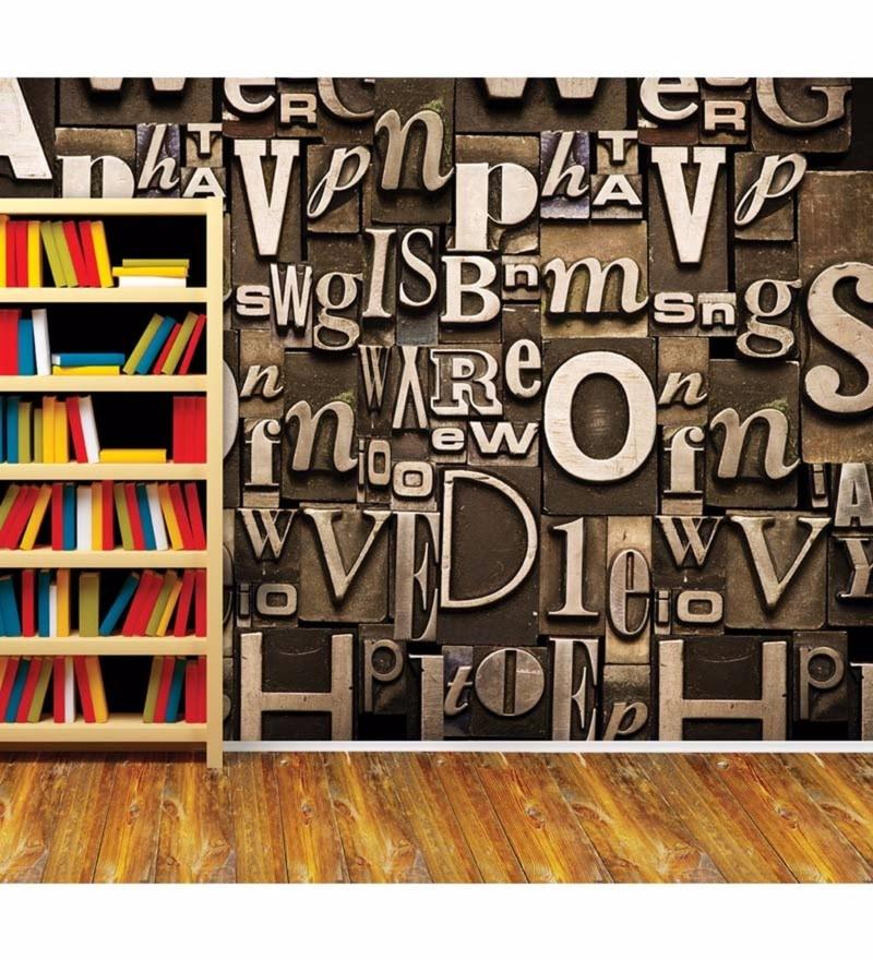 Brown Non Woven Paper Words Wallpaper by Wallskin