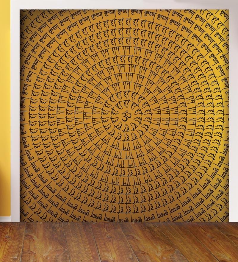 Golden Non Woven Paper Chants on Wall Wallpaper by Wallskin