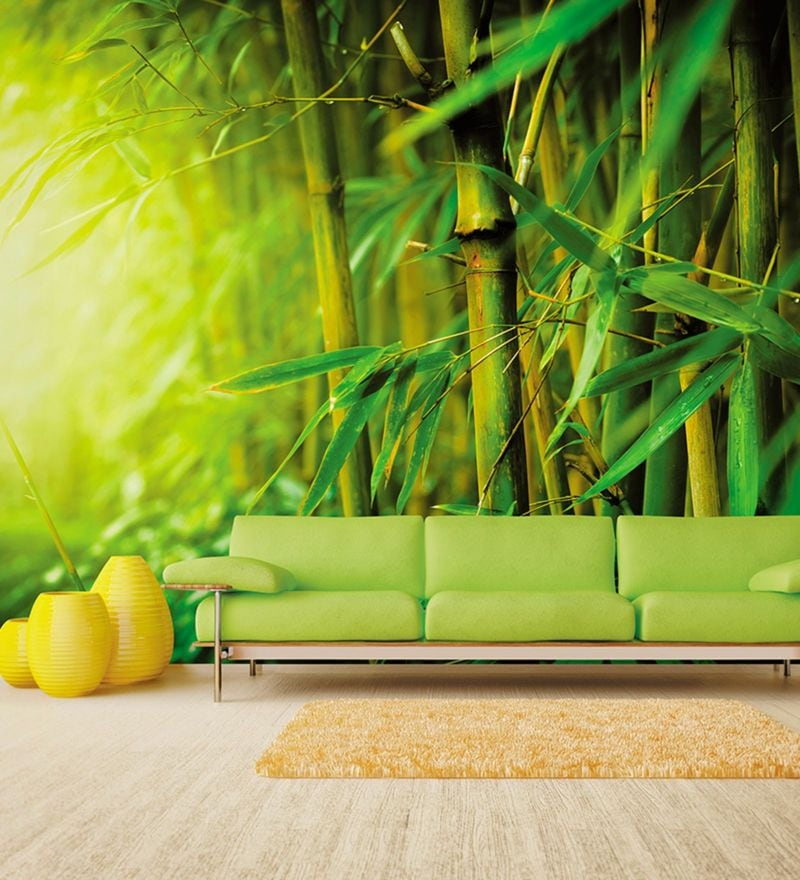 Green Non Woven Paper Forest of Relaxation Wallpaper by Wallskin