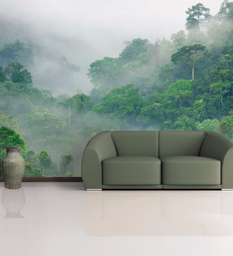 Green Non Woven Paper Mist in Mountains Wallpaper by Wallskin