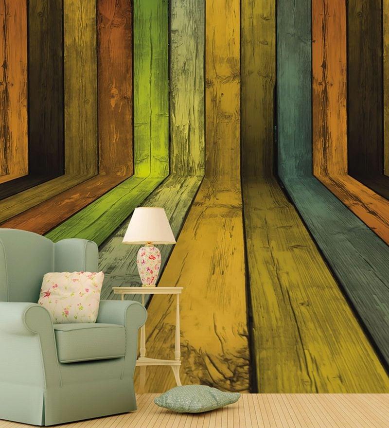 Green Non Woven Paper Wood Walls Wallpaper by Wallskin