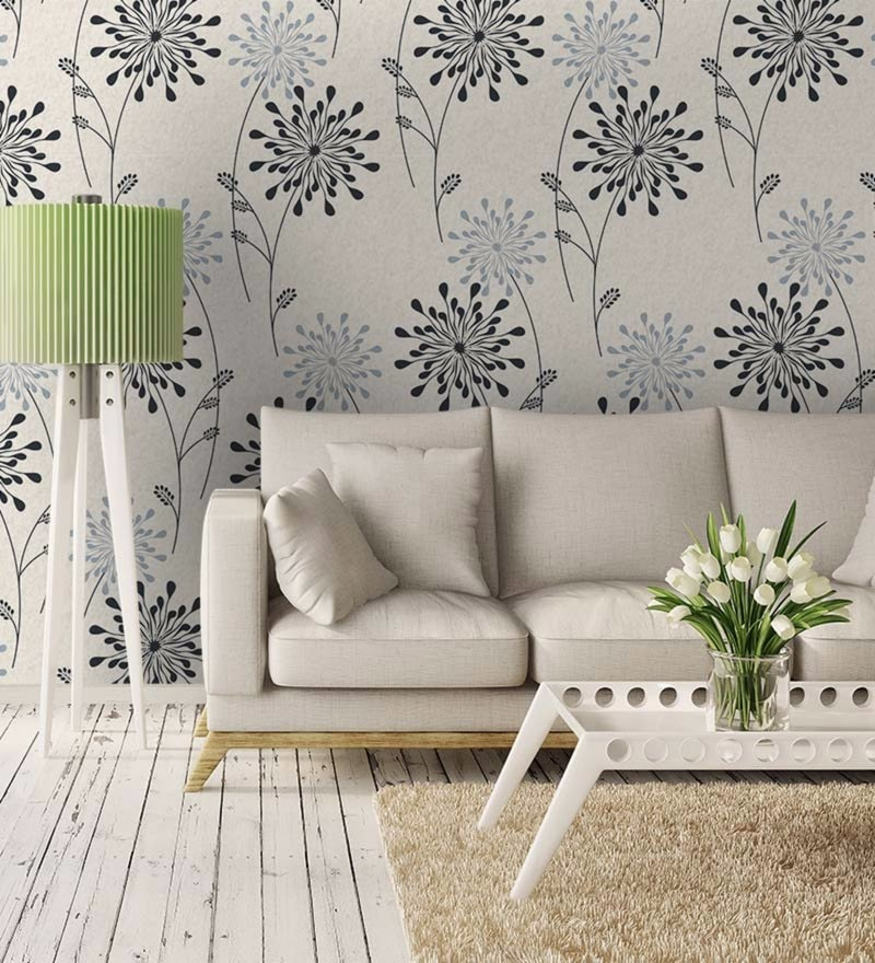 Grey Non Woven Paper Ethnic Floral Pattern Wallpaper by Wallskin