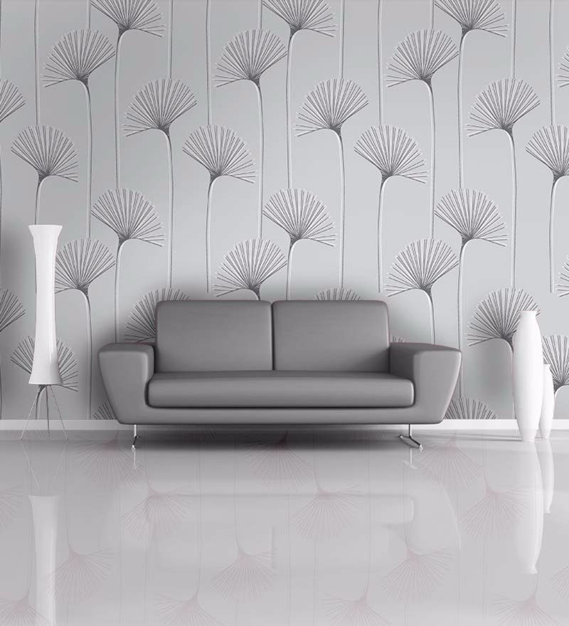 Grey Non Woven Paper Floral Wallpaper by Wallskin