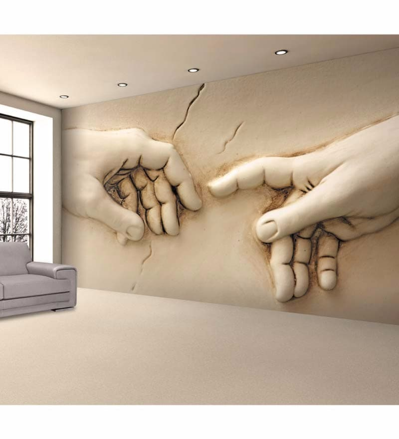 Buy Ivory Non Woven Paper Hands Wallpaper by Wallskin Online
