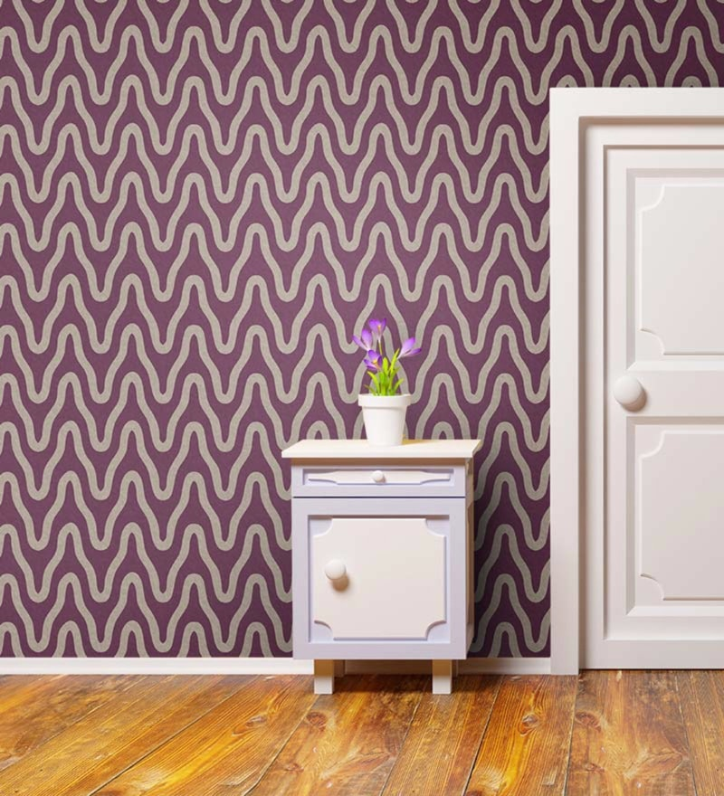 Purple Non Woven Paper The Wave Wallpaper by Wallskin
