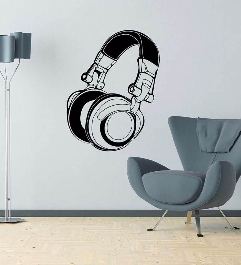 Vinyl Funky DJ Headphones Wall Decal by Wallskin