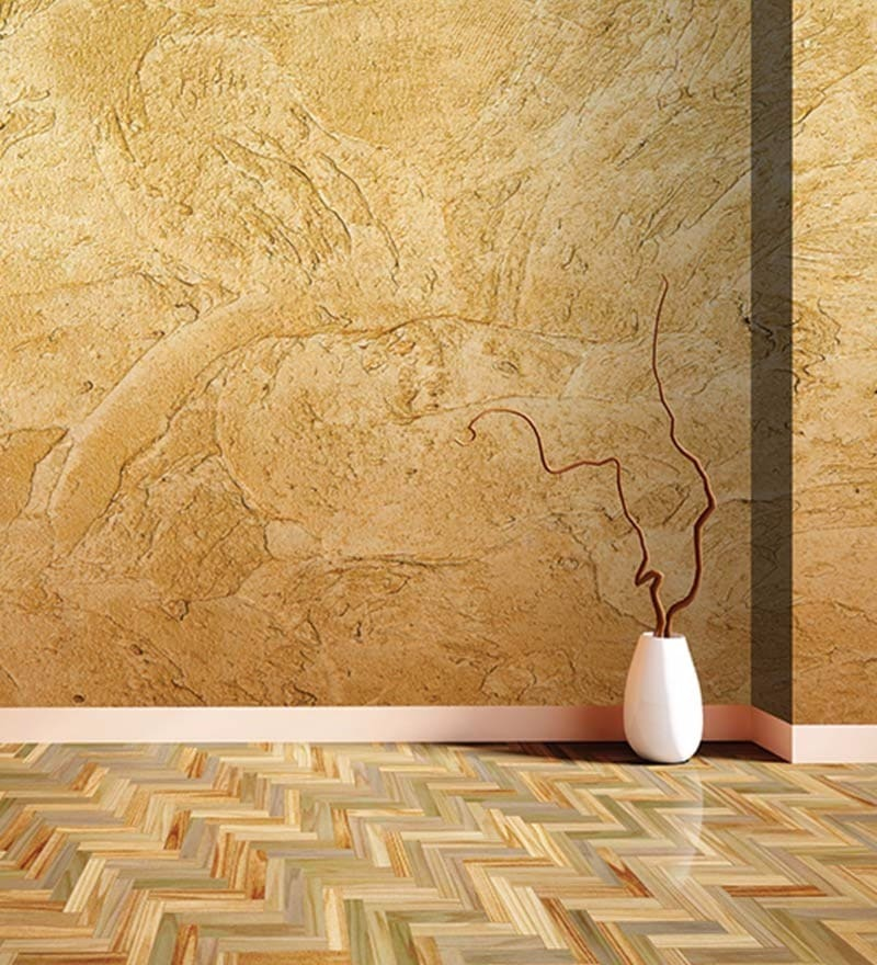 Yellow Non Woven Paper Brown Textured Wallpaper by Wallskin