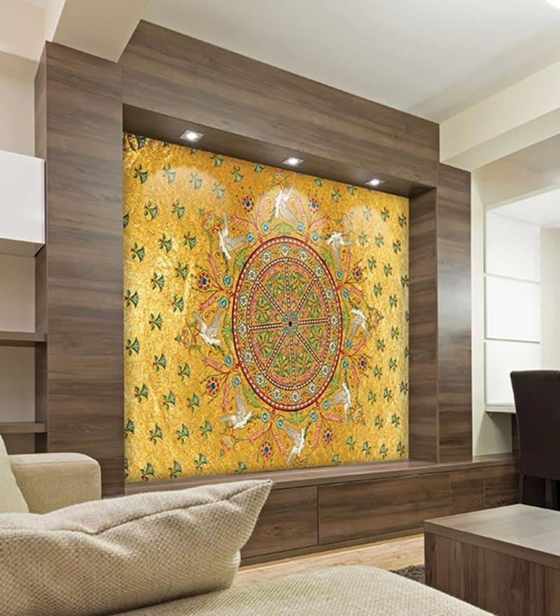 Yellow Non Woven Paper Ethnic Circle Wallpaper by Wallskin