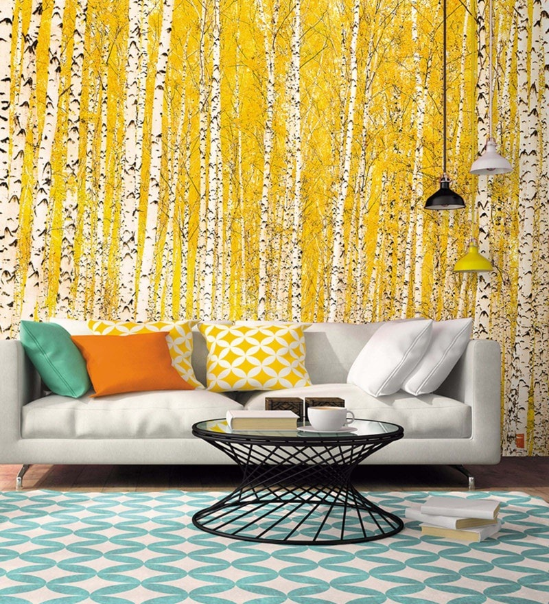 Yellow Non Woven Paper Trees Wallpaper by Wallskin