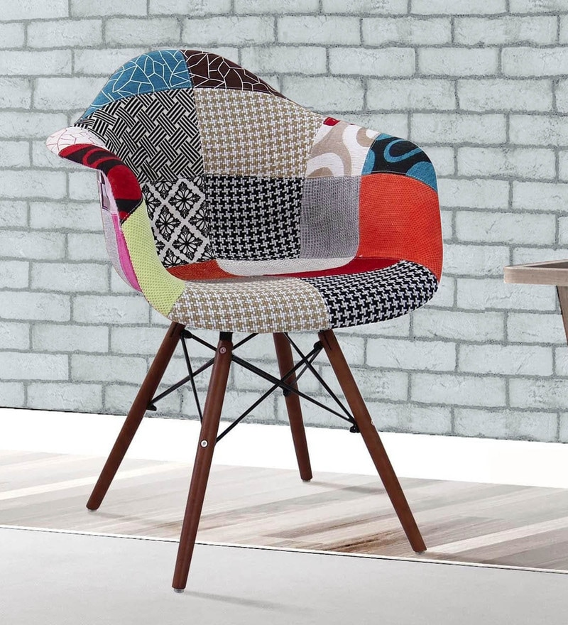 Buy Warren Accent Chair With Patchwork In Multicolour By