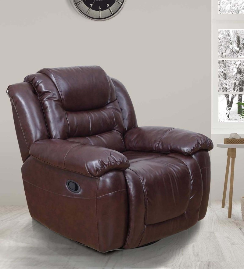Wave One Seater Recliner in Brown Colour by Royal OAK