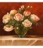 Wall Decor Canvas 24 x 24 Inch Peach Floral Framed Digital Art Print