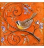 Wall Decor Canvas 24 x 24 Inch Polychrome Orange with Bird Framed Digital Art Print