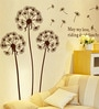WallTola PVC Vinyl Brown Blowing Dandelion Wall Sticker
