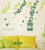 PVC Vinyl Corner Green Branches with Cage Wall Sticker by WallTola