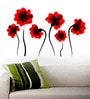 PVC Vinyl Illuminating Flowers in Red Wall Sticker by WallTola