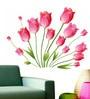WallTola PVC Vinyl Pink Tulips Bouquet Wall Sticker