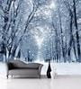 White Non Woven Paper Winter Forest Wallpaper by Wallskin