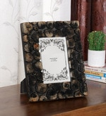 Ethnic Clock Makers Black Solid Wood 9 x 1 x 11 Inch Logs Design Photo Frame