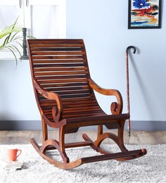 Wellesley Solid Wood Rocking Chair In Honey Oak Finish