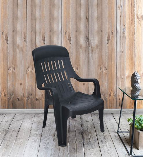 Weekender Premium Chairs Plastic Chairs in Iron Black Colour by Nilkamal