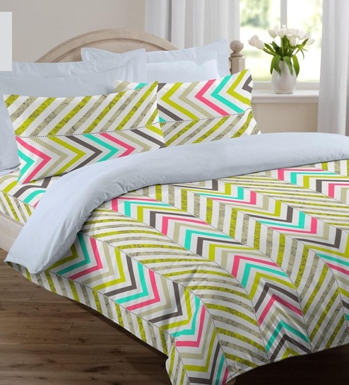 Welhome Lime Green Cotton Rich Snapshot Double Bed Sheet Set