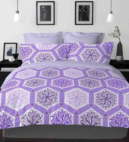 Captivating Purple 100% Cotton Snapshot Bed Sheet Set By Welhome