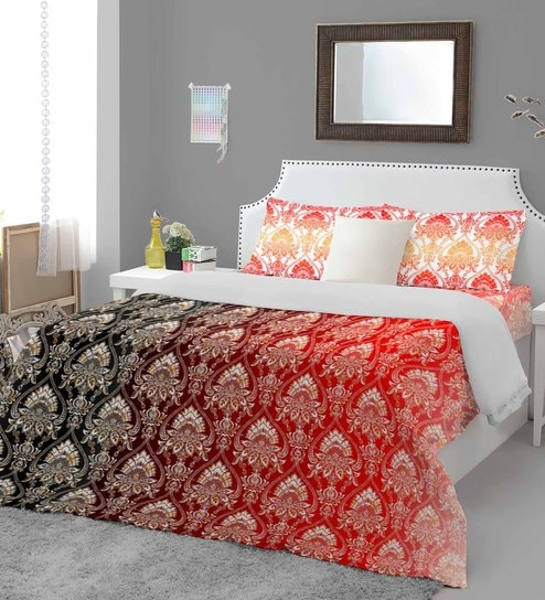Red Cotton Essential Premium Bed Sheet Set By Welhome